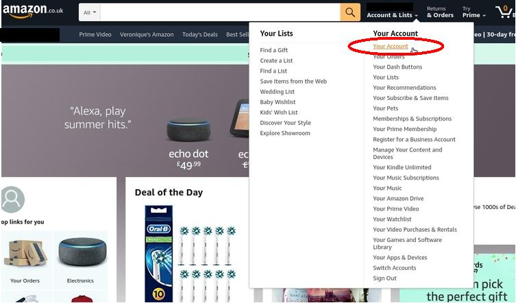 Screenshot of Amazon.co.uk top menu - How to find your Amazon.co.uk reviews