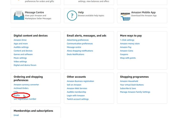 Screenshot of Amazon.co.uk account - how to find your Amazon reviews