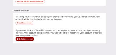 Screenshot of Plurk account showing Delete Account option